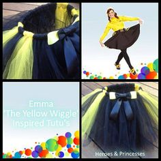 All my Princess Tutus are Handmade. This is my Emma The Yellow Wiggle inspired Tutu, made with two different colour tulle and a matching bow.