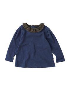 Color Block Frill Ruffled Collar T-shirt