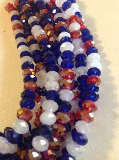 6x4 mm faceted rondelle Old Grory mix. Red,white,blue. Gorgeous 8 inch strands.Crystal mix beautiful Tiaria Mixes, beading,supplies,Jewelry by SeasideJewelry1 on Etsy