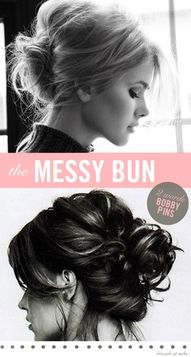 shoulder length hair - love the messy bun look - need to learn how to do it w/ my hair My Hairstyle, Pretty Hairstyles, Wedding Hairstyles, Homecoming Hairstyles, Hairstyle Ideas, Quinceanera Hairstyles, Winter Hairstyles, Medium Hairstyles, Everyday Hairstyles