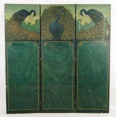 An Art Nouveau Three-Panel Leather Floor Screen.