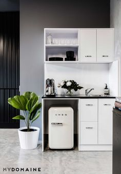"""Everyone in our office requires coffee to function, so our Nespresso Creatista coffee machine gets a good workout every morning,"" she says. ""The addition of the Smeg mini fridge has also..."