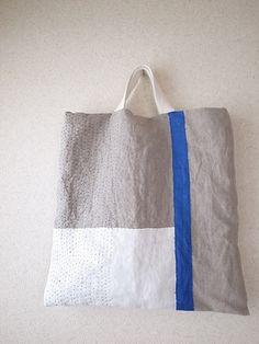 Bolsa de la línea de acantilado azul de lino bordado en diagonal 3way