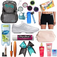Cheer Bag Components Cheer Practice Outfits, Cheer Outfits, Sport Outfits, Cheer Clothes, Cheer Backpack, Cheer Tryouts, Cheer Poses, Gym Bag Essentials, Cheer Camp