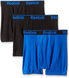 f1f26fbe8708 Reebok Men's 3 Pack Cotton Boxer Brief, Black/Electric Blue/Dark Shadow,  Small at Amazon Men's Clothing store: