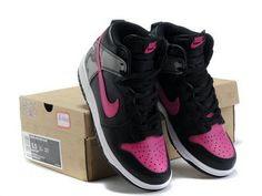 new arrival 5b9b6 fa011 Nike Dunk High Womens Black Vivid Pink White Cool High Tops, Nike High Tops,