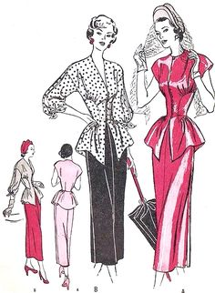 1940s GORGEOUS Peplum Dress Pattern BUTTERICK 4593 2 Pc Fitted Midriff Flared Peplum SPLIT Sleeved  Cocktail Evening Party Dress So Film Noir Bust 30 Vintage Sewing Pattern FACTORY FOLDED