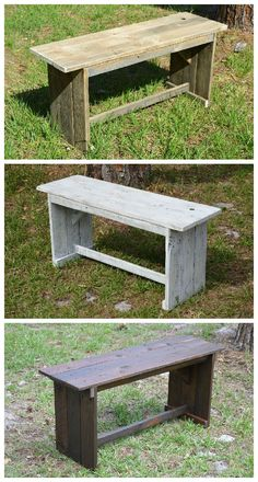 "I made these benches with a rustic look from recycled pallets to be light weight and yet sturdy. I make them in a variety of finishes and they can be used indoors or outside. [symple_box color=""gray"" fade_in=""false"" float=""center"" text_align=""left"" width=""100%""]…"