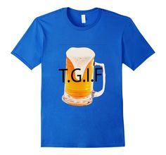 Men's T.G.I.F beer mug shirt Medium Royal Blue