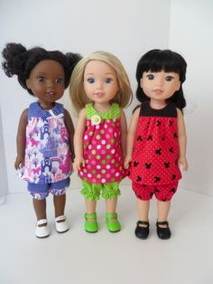 Sewing patterns for Wellie Wishers dolls and Hearts for Hearts.  Read more at www.ohsewkat.com.  #ohsewkat #welliewishers #dollclothes #bloomerbuddies