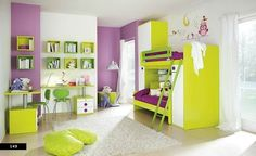 If Mak ever has to share a room.....girls modern bedroom with pastel primary colors