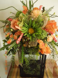 Coral Roses and Daisy Floral Lantern Swag by 4Seasonsflorals on Etsy