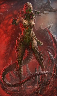 Art featuring monster ladies of all sorts. Fantasy Demon, Fantasy Beasts, Demon Art, Fantasy Races, Fantasy Monster, Monster Art, Dark Fantasy Art, Fantasy Artwork, Dark Creatures