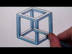 How To Draw an Impossible Cube – Optical Illusion Comment dessiner un cube impossible – Illusion d'optique Optical Illusion Photos, Illusion Drawings, Illusion Art, Op Art Lessons, Drawing Lessons, Drawing Techniques, Art Optical, Optical Illusions, 3d Art