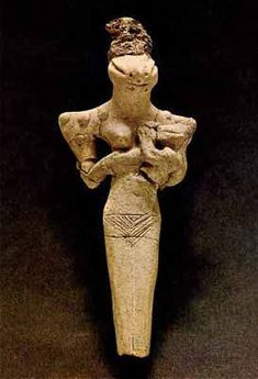 Sumerian terracotta figurine representing the mother-goddess C.3700BC Ur