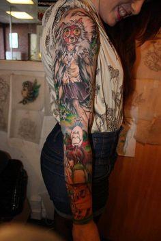Ghibli sleeve - This is so badass! Foot Tattoos, Arm Tattoo, Body Art Tattoos, Sleeve Tattoos, Tattoo Ink, Great Tattoos, Beautiful Tattoos, New Tattoos, Miyazaki Tattoo