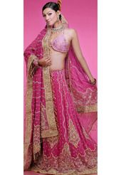 Deep Pink Georgette Lehenga Choli with Dupatta