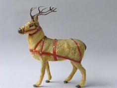 Reindeer toy, first half century, With plush - Nov 2005 Antique Christmas, Christmas Deer, Christmas Items, Jingle Bells, Antlers, Reindeer, Diy And Crafts, Plush, Turkey