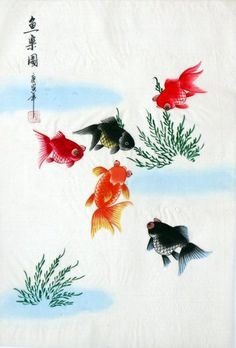 "chinese silk painting goldfish fish carp 15x11"" traditional gongbi brush ink art 