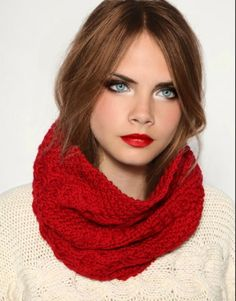 Fall in love with a bold red lip and the perfect knit scarf.