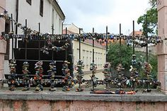 """""""Love Locks"""" on any bridge...This one was in Prague, Czech Republic, but I *so* enjoy seeing these tokens on bridges in Europe!"""