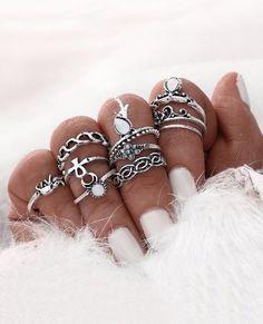 Boho Style 10pcs Ring Set