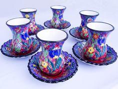 """Tulip"" Hand-painted Turkish Porcelain Tea Set- 6 pc"