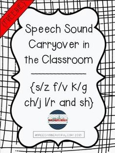 {FREEBIE} Speech Sound Carryover in the Classroom {s/z f/v} #speech