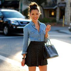 {denim shirt and skirt}