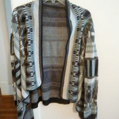 CharlotteRusse Grey & Navy Blue Print Cardigan very cute only worn once! Charlotte Russe Sweaters Cardigans