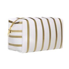 a5ec064e273e Simple Stripe Cosmetic Bag Portable Zipper Toiletry Case Waterproof Pouch  *** You can find