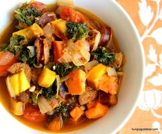 Autumn Harvest Soup with Delicata Squash Kale Turkey Andouille Sausage Garnet Yams from The Hungry Goddess