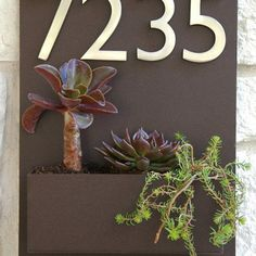 Contemporary Brown Wall Plaque with address