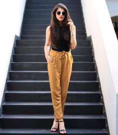 Missa More Tan Cotton Ankle Length Tie Up Trousers