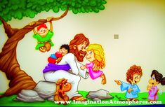 """""""Jesus and the Children"""" Cartoon Mural. Like the mural but add more sky and more kids and write a scripture above"""