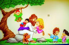 """Jesus and the Children"" Cartoon Mural. www.ImaginationAtmospheres.com"