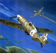 "Macchi 202 ""Folgore"" escoltando Ju-88 derriba un Spitfire Más en www.wlgrancapitan.org/foro/"
