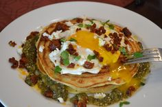 Corn Pancakes with Chorizo, Fried Egg, and Tomatillo Salsa  #TeflonEggs