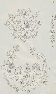 Fabric Painting Step by Step with Photos: Bauernmalerei Risk Painting Fabric Hand Embroidery Flowers, Tambour Embroidery, Hungarian Embroidery, Crewel Embroidery, Hand Embroidery Designs, Vintage Embroidery, Embroidery Patterns, Tole Painting, Fabric Painting
