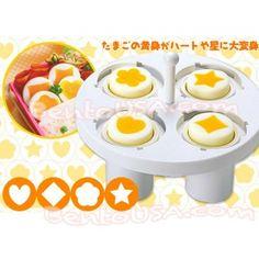 Decorative Hard Boiled Egg Yolk Mold 4 Shapes for Bento Accessory . Boiled Egg Maker, Boiled Eggs, Hard Boiled, Sushi, Japanese Kitchen, Japanese Egg, Egg Molds, Bento Recipes, Pub Food