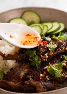 Nuoc Cham sauce being drizzled over Caramelised Vietnamese Shredded Beef Meat Recipes, Asian Recipes, Dinner Recipes, Cooking Recipes, Healthy Recipes, Ethnic Recipes, Shredded Beef Recipes, Oxtail Recipes, Recipies