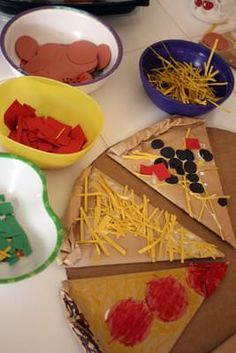 play food pizza foam | 30. Cardboard Pizza Making ~ A fun activity for kids using cardboard ...