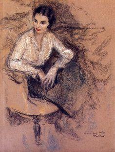 Artist Edouard VUILLARD ( 1868 - 1940 ) Title « Irène Montanet assise dans l'atelier du peintre » Medium Pastel on paper Size H. 42 x L. 32 ...