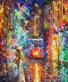 Art Canvas Print featuring the painting vening Trolley by Leonid Afremov Your Paintings, Beautiful Paintings, Original Paintings, Oil Painting On Canvas, Canvas Wall Art, Canvas Prints, Palette Knife Painting, Ouvrages D'art, Modern Wall Art