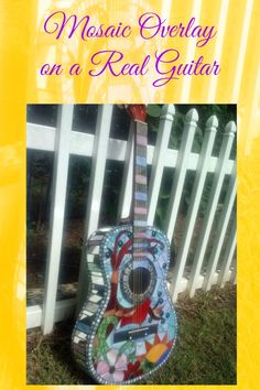 This is a great gift for a music lover ~ a basic inexpensive guitar was used as the backdrop for this beautiful mosaic overlay