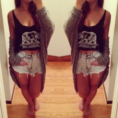 summer fashion. high waisted jean shorts, cardigan and tank top