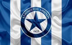 Download wallpapers Atromitos FC, 4k, Greek football club, emblem, Atromitos logo, Super League, championship, football, Peristerion, Greece, Athens, silk texture, flag