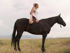 Yoga on a horse. Giddyup!