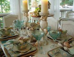 I love coastal decor. Lovely, dressed to the coastal table scape Seaside Decor, Coastal Decor, Coastal Style, Coastal Living, Deco Table, A Table, Dining Table, Nautical Table, Beautiful Table Settings