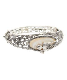 Look what I found on #zulily! Mother-Of-Pearl & Marcasite Lady In The Mirror Bangle #zulilyfinds